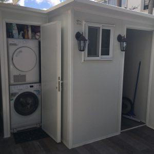 מחסן למכונת כביסה ומייבש 2.00/1.10מ' פנל מבודד – כולל חלון